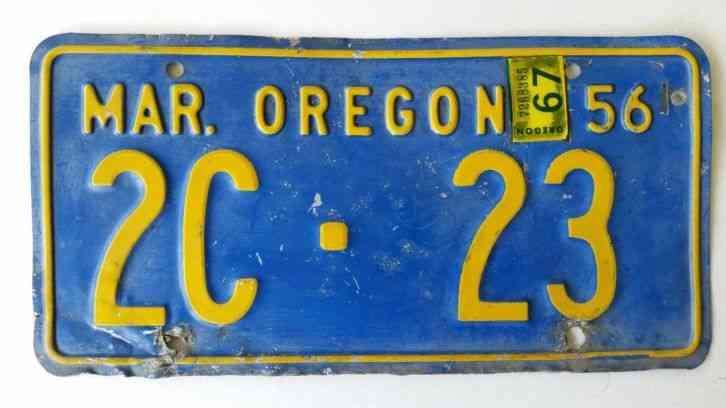 Oregon license plates 1955 1956 with 1967 sticker pair for Oregon fishing license price
