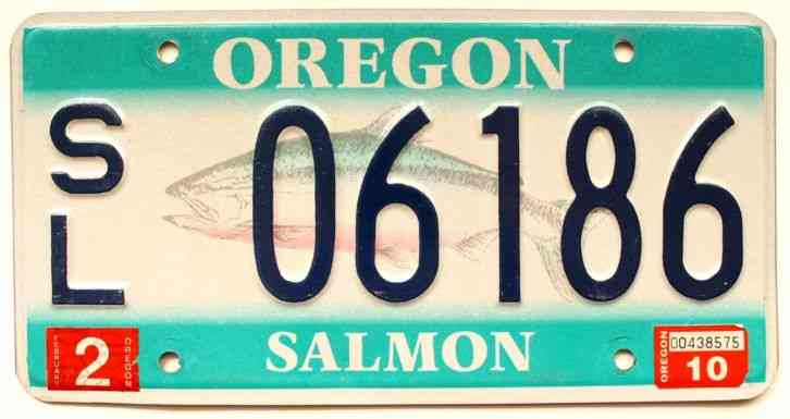 Oregon wildlife salmon fish or graphic license plate for Oklahoma fishing license age