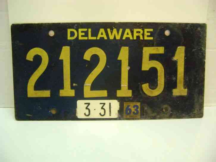 Original delaware 212151 license plate 1963 vintage for Oklahoma fishing license age