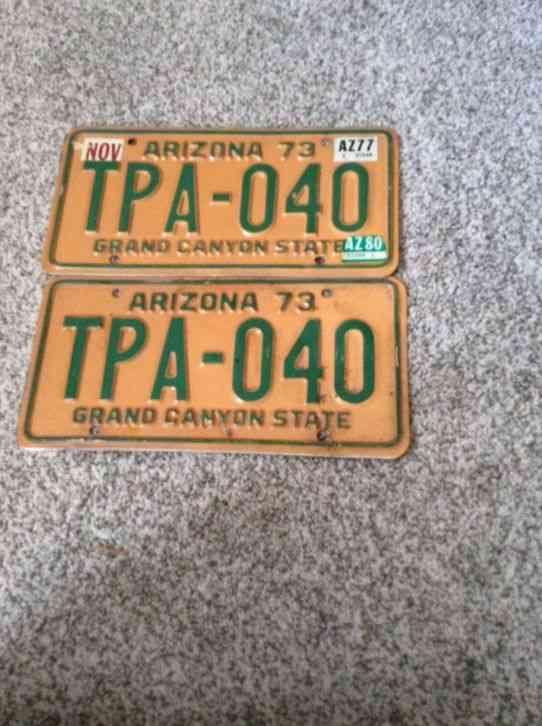 Pair 1973 arizona automobile license plates for Fishing license az price
