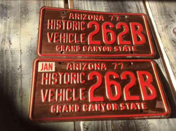 Az Car Registration: Set Of Vintage 1977 ARIZONA Historic Vehicle License