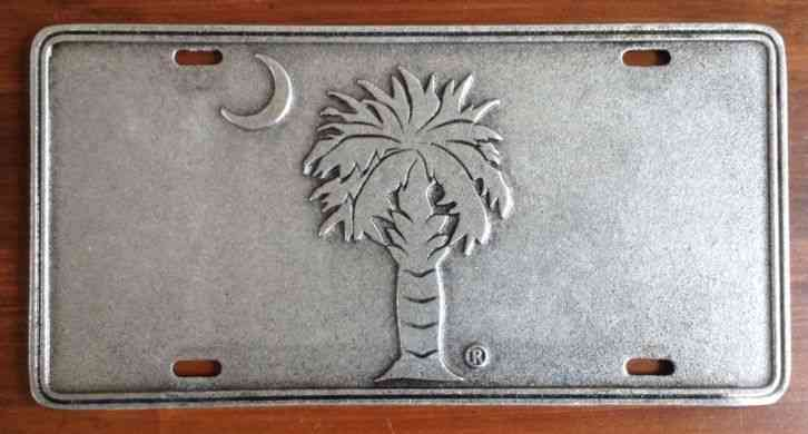 South Carolina Palmetto State Flag Pewter License Plate