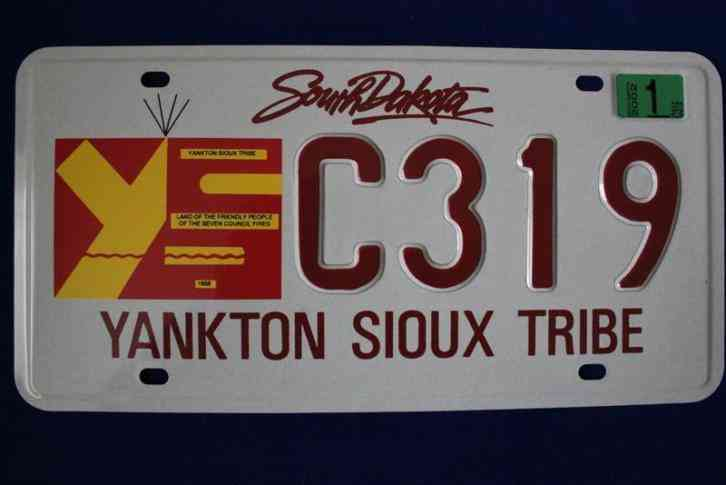 south dakota state yankton sioux tribe license plate