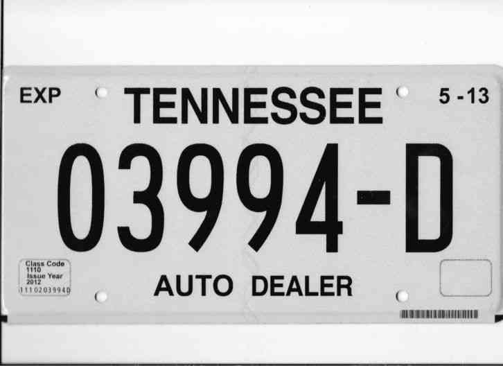 Tennessee Vanity Dealer License Plate Tag Dlr Car Truck