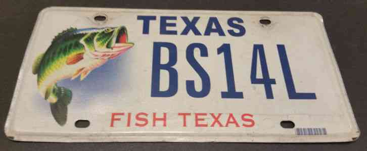 Texas bs14l bass fishing license plate for Where to buy texas fishing license