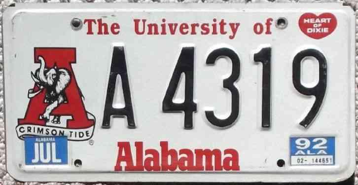 university of alabama crimson tide 1992 license plate w. Black Bedroom Furniture Sets. Home Design Ideas