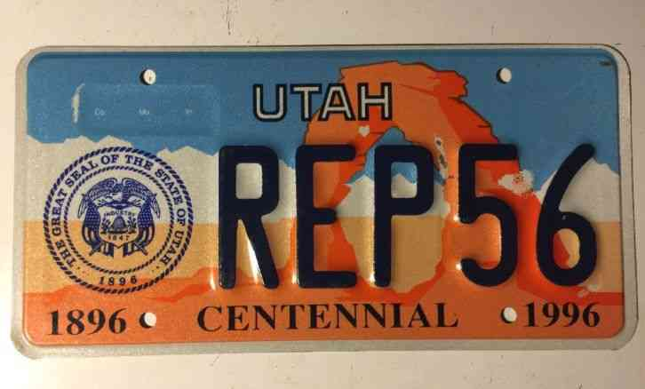 utah 1996 centennial 100 years graphic license plate 1996. Black Bedroom Furniture Sets. Home Design Ideas