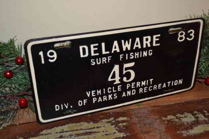 very rare 1983 2 digit black delaware surf fishing tag