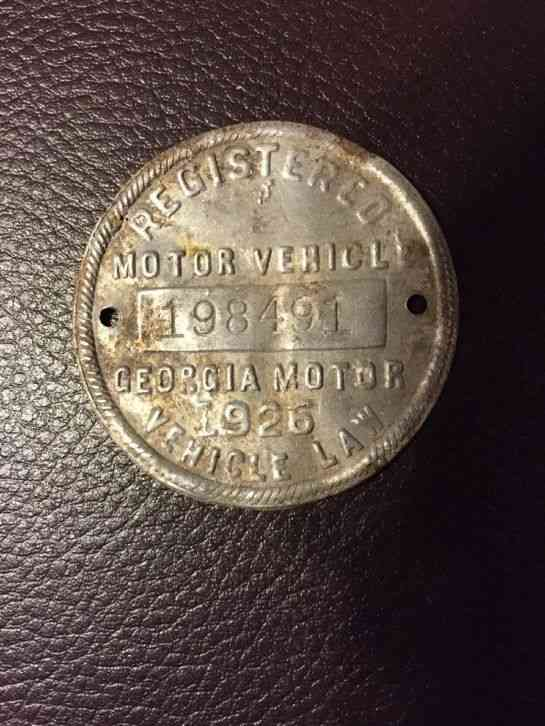 Vintage 1926 state of georgia motor vehicle dash tag for Vermont motor vehicle laws