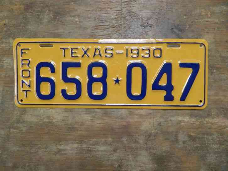 Arizona State License Plate >> VINTAGE 1930 TEXAS TX. LICENSE PLATE 658 047 VERY NICELY