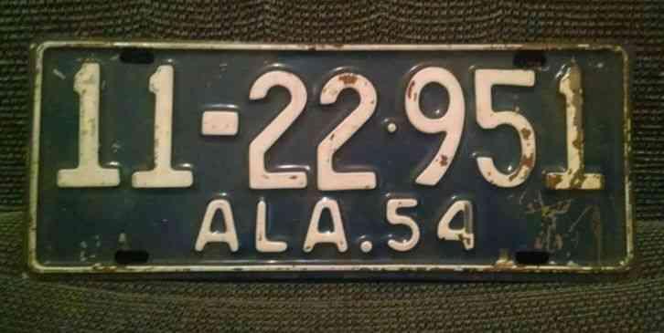 Vintage 1954 Alabama License Plate