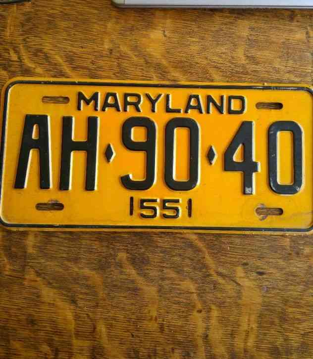 Man Cave Yard Sale Wv : Vintage maryland license plate
