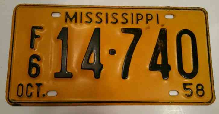 mississippi license plate oct 1967 alcorn county. Black Bedroom Furniture Sets. Home Design Ideas
