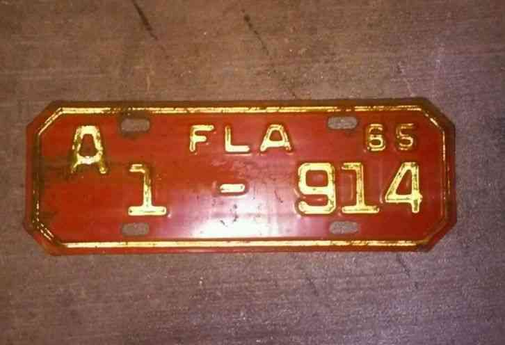 Vintage 1965 Florida State Motorcycle License Plate