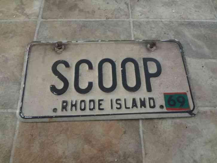 Vintage 1969 Rhode Island Vanity License Plate Scoop