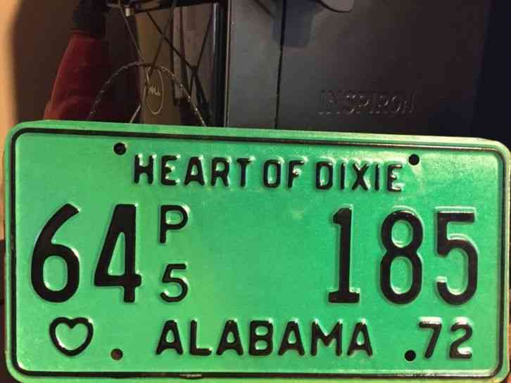 Cars For Sale In Arkansas >> Vintage 1972 Alabama Heart of Dixie Automobile License