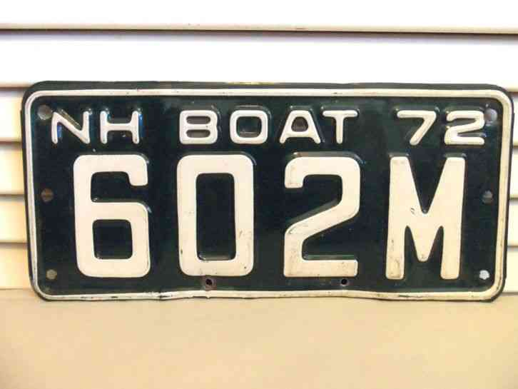 Vintage 1972 nh boat license plate 602 m new hampshire for New hampshire fishing license