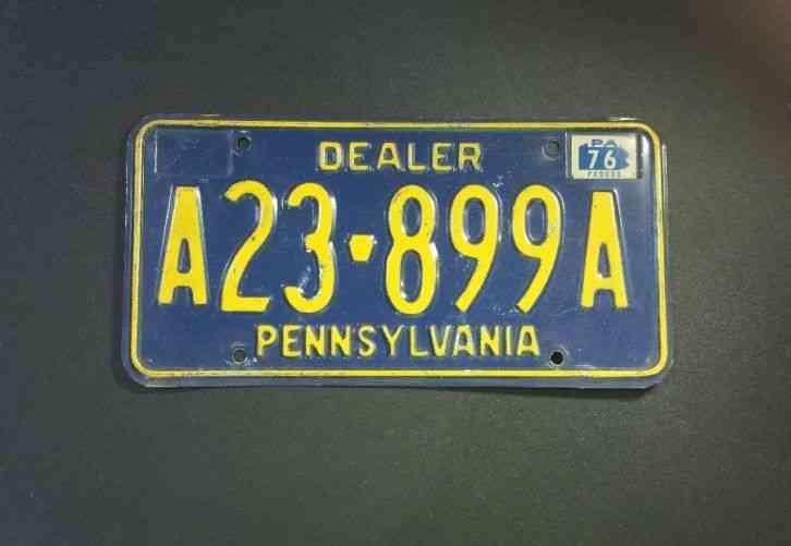 Vintage 1976 Pennsylvania Pa License Dealer Plate A23 899a