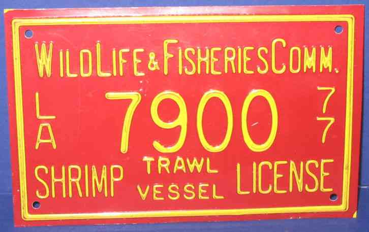 Vintage 1977 louisiana wildlife shrimp fishing boat for Fishing license in louisiana
