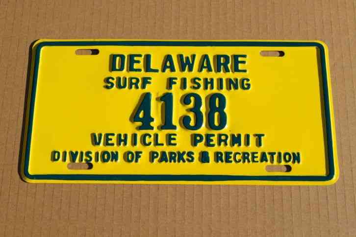 Vintage delaware license plate specialty surf fishing for North carolina surf fishing license