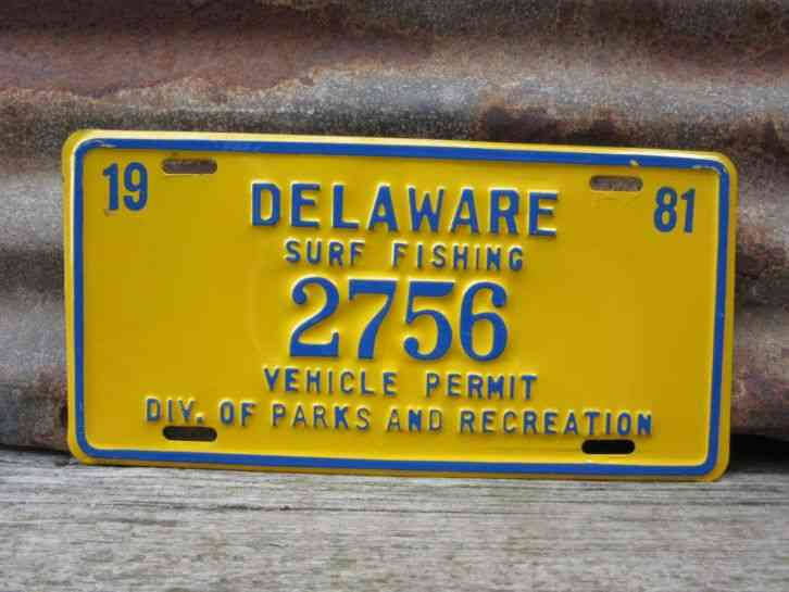 Vintage delaware surf fishing license plate 1981 parks for Pa fishing license prices