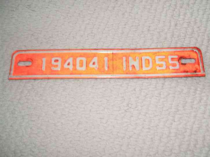Vintage Indiana 1955 License Plate Tag Topper