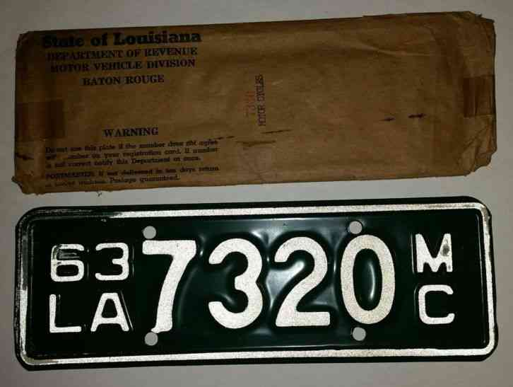 Used Car Lots In Baton Rouge >> Vintage Louisiana motorcycle license plate