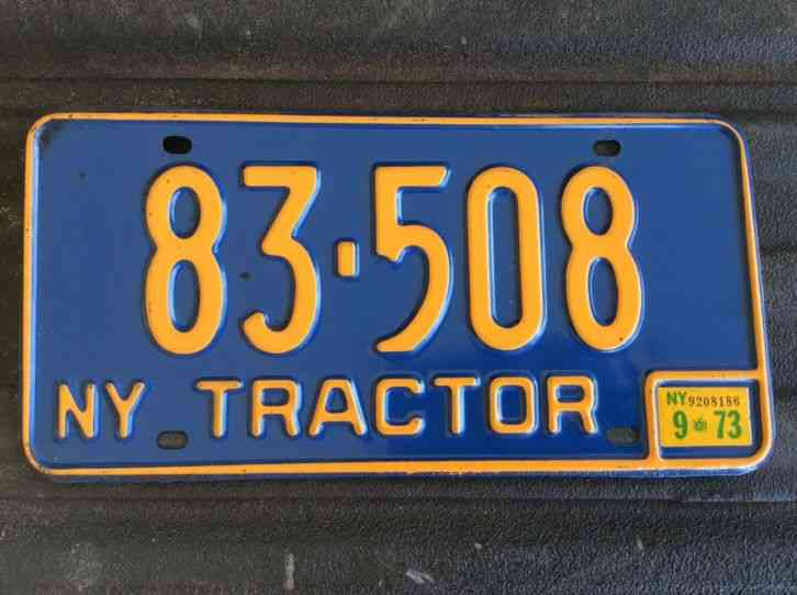 Tractor License Plates : Vintage new york tractor license plate blue yellow