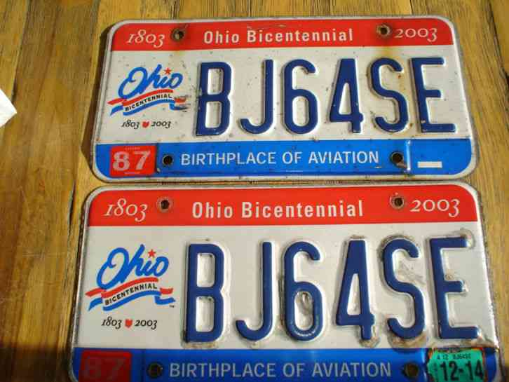 Vintage Ohio Bicentennial License Plate Pair 2010