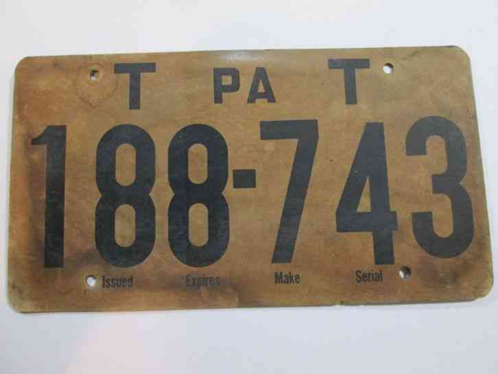 vintage pennsylvania cardboard temporary temp tag license. Black Bedroom Furniture Sets. Home Design Ideas
