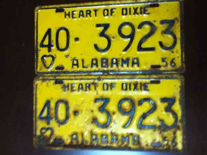 Vintage rare set of 1956 lamar county alabama license for Michigan fishing license prices