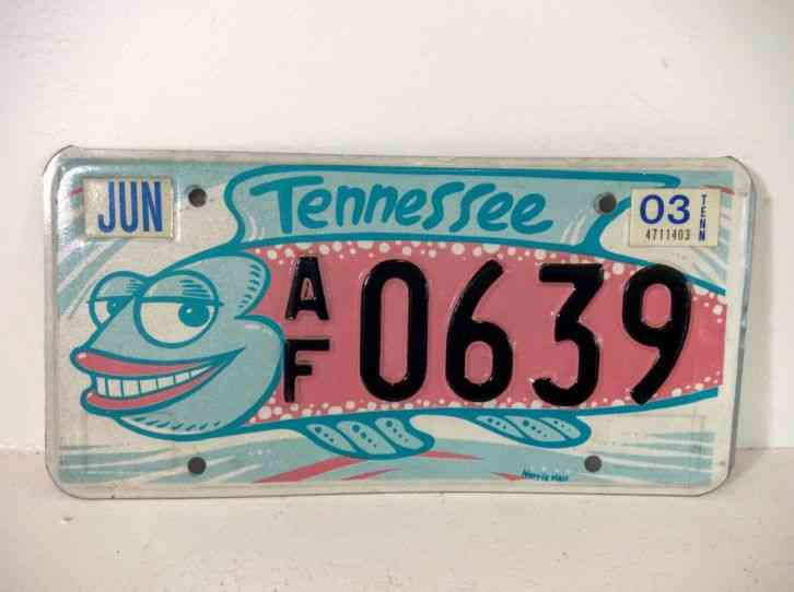 Vintage tennessee friends of art silly fish liscense plate for Michigan fishing license prices