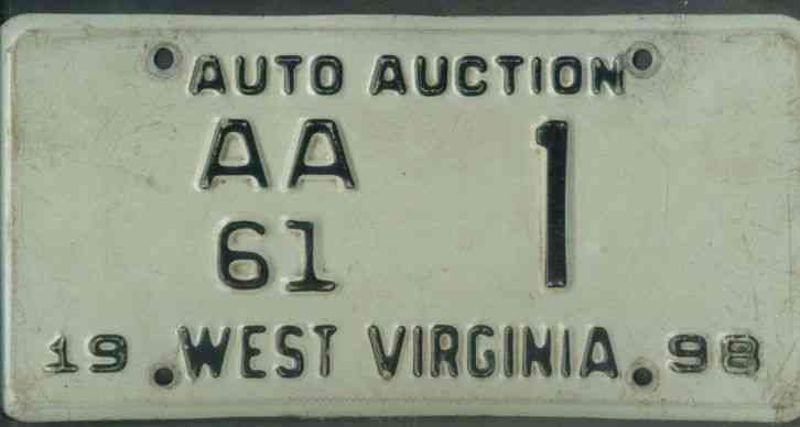 west virginia 1998 license plate aa61 auto auction 1. Black Bedroom Furniture Sets. Home Design Ideas