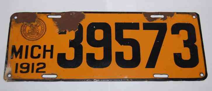 Arizona State License Plate >> 1912 michigan porcelain license plate
