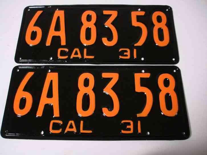 1931 California Car license Plate pair DMV CLEAR RESTORED OLD TAG