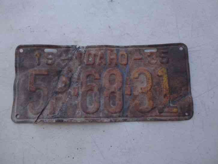 1935 Idaho License Plate 5p 68 31
