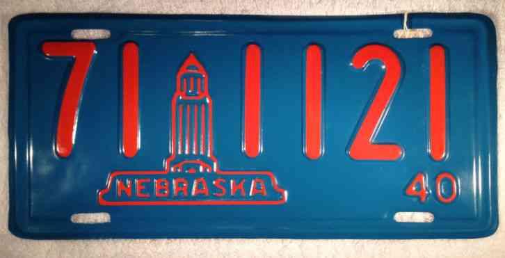 1940 Nebraska License Plate Professionally Restored
