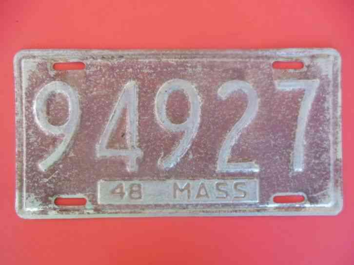 Ma Car Registration: 1948 MA Massachusetts License Plate Auto Car Truck