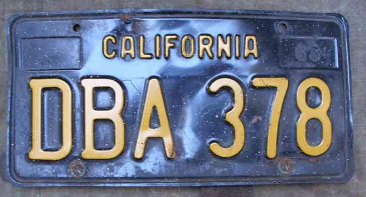 1963 California License Plate Black & Yellow Single DBA-378 DMV Clear  Vintage