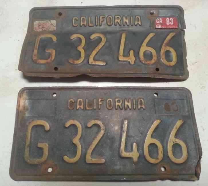 Plates Commercial DMV Truck California Pair License 1963