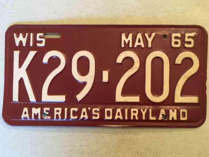 1965 Wisconsin Passenger Car Automobile *License Plate*