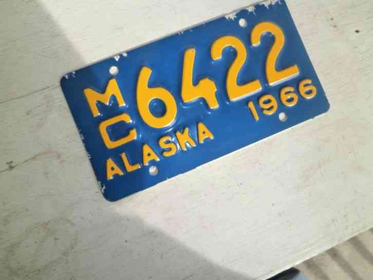 1966 Alaska Motorcycle License Plate 6422