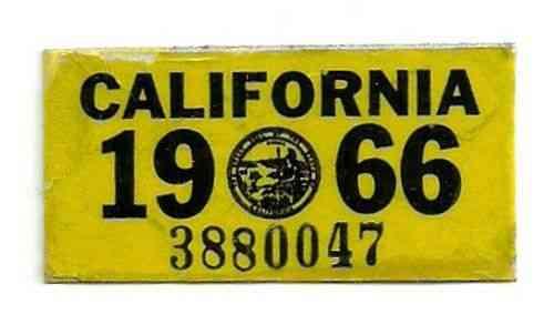Arizona State License Plate >> 1966 California license plate sticker, authentic DMV