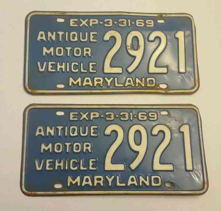 1968 Maryland License Plates Pair