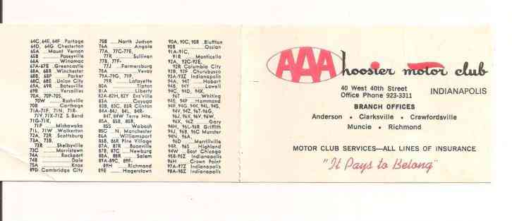 1972 INDIANA LICENSE PLATE PREFIXES FROM AAA HOOSIER MOTOR CLUB