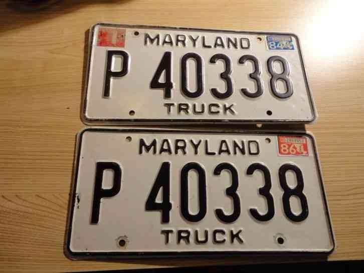 Pair Blue 1971 License Tag Set Maryland Very Nice