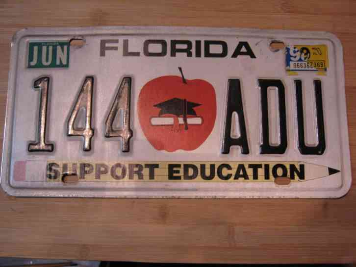 1999 Florida Support Education License Plate Expired 144