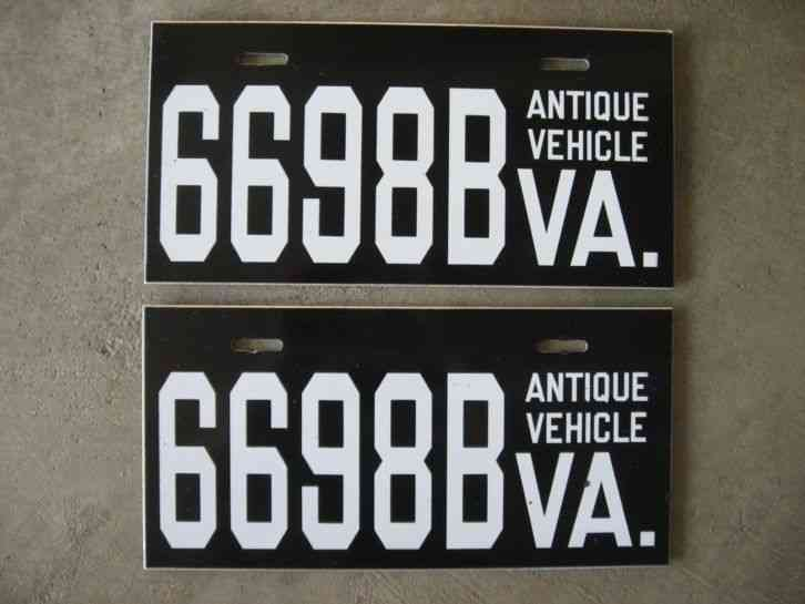 (2) VIRGINIA Antique Vehicle License & 2) VIRGINIA Antique Vehicle License Plates Tags - nice