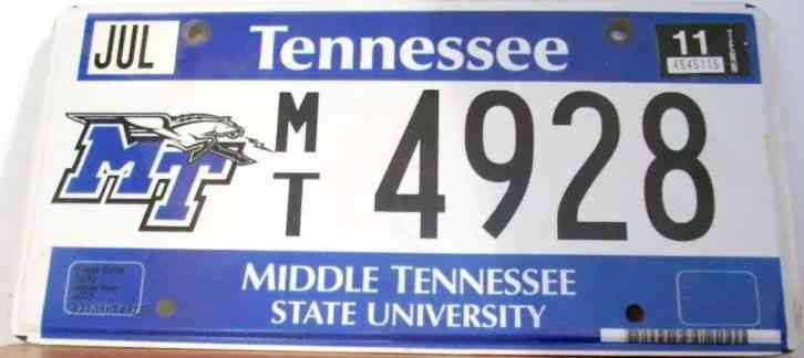 2011 TENNESSEE Middle Tennessee State University license