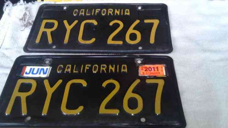 63 california license plate black and yellow